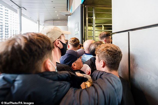 Ticketless England fans managed to breach security checks before sitting inside Wembley