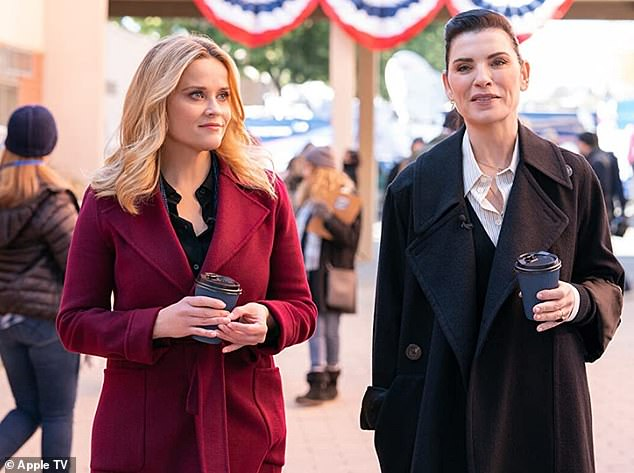 Margulies continued:'You've got Jennifer Aniston and Reese Witherspoon playing these two very strong characters, and in the second season instead of bringing a man in to upset that balance they brought in a woman. Hats off to that, because the truth is women are more afraid of women'