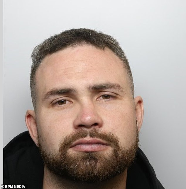 Oliver Trim, 32, cried as he was sentenced to 37 in prison after exposing himself to a lone woman on a train, pinching the bottom of a female police officer and using racially aggravated language