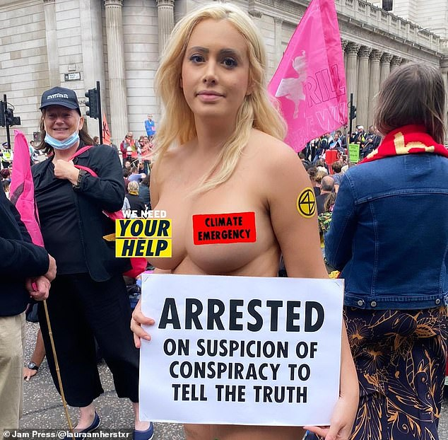 Topless Extinction Rebellion protester Laura Amherst, 31,has said she will go on hunger strike until Boris Johnson addresses the group's demands on climate change