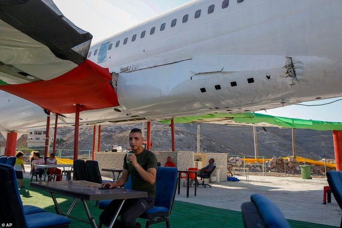 The eaterie - called the Palestinian-Jordanian Airline Restaurant and Coffee Shop al-Sairafi - opened on July 21