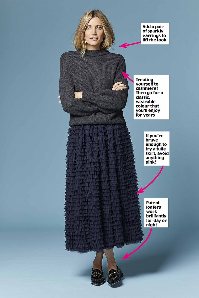 Dinah Van Tullken shares advice for embracing the statement skirt trend for any occasion this season.  Pictured: Cashmere jumper, £190, and tulle skirt, £150, boden.co.uk.  Loafers, £195, Russellland bromley.co.uk