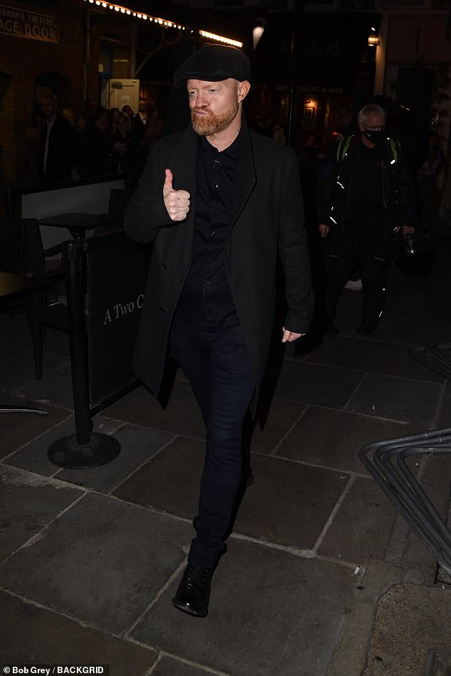 Star: Following soon afterwards was her co-star Jake Wood, 49, who sported an all-black ensemble