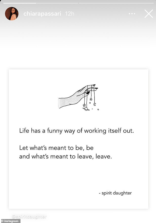 Cryptic: She re-shared this Instagram post from a 'wellness' account, which read: 'Life has a funny way of working itself out. Let what's meant to be, be and what's meant to leave, leave'