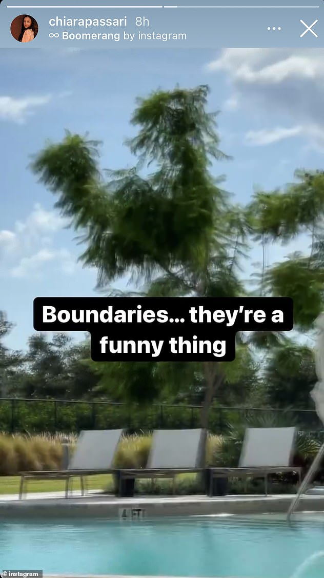 What are you trying to say? The model followed this with a Boomerang clip of an outdoor swimming pool, adding the caption: 'Boundaries... They're a funny thing'