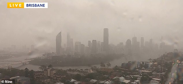 Wild weather is battering Brisbane (pictured) and areas of QLD's south-east, with similar conditions expected for more of Australia's east coast