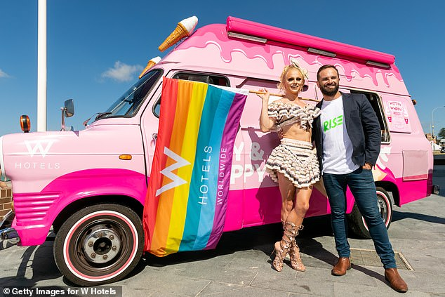 Mardi Gras chief executive Albert Kruger (pictured right) said a ticketed event at the SCG is the best way to go amid Covid-19 uncertainties (Pictured: Courtney Act and Albert Kruger during a media call)