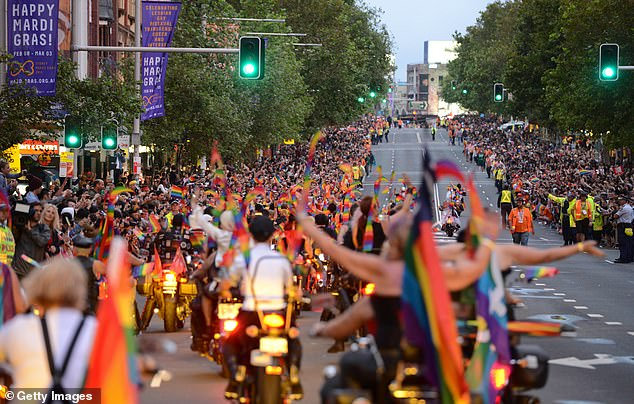 Organisers plan for the parade to return to Oxford Street in 2023, to mark the event's 45th anniversary (Pictured: Mardi gras parade on Oxford Street, Sydney)