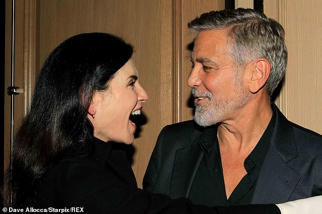 Reunited and it feels so good! ER star Julianna Margulies and Clooney were all smiles when they reunited at a special screening of his new directorial effort, The Tender Bar, in New York City on Wednesday