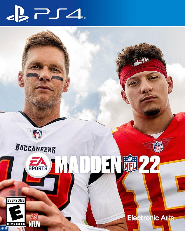 Jon Gruden was dropped by EA Sports' Madden 22 video game after he resigned as coach of the Las Vegas Raiders. Pictured: The cover of Madden 22, featuring Tom Brady (left) and Patrick Mahomes (right)