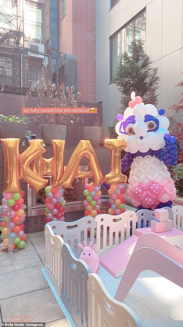Adorable: Just last month, Bella celebrated her niece's first birthday with a party at her sister Gigi's New York City abode