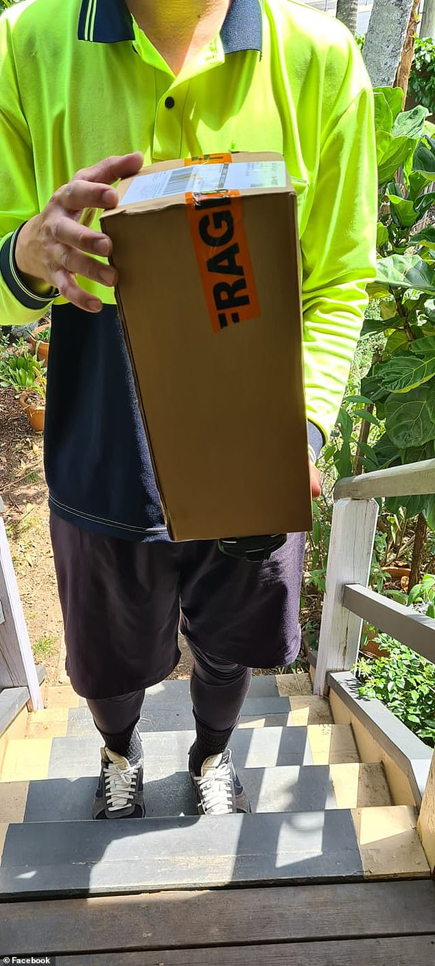 The author of the cheeky note later revealed it worked with their package was delivered to the front door (pictured)