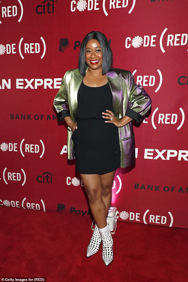 Eye-catching: Actress Phoebe Robinson showcased her eccentric fashion sense by layering a striking chrome duo blazer over a solid black mini dress
