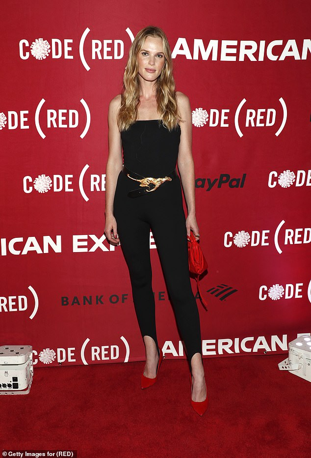 Stunning: Anne V looked effortlessly beautiful when she arrived on the red carpet solo in a bodycon jumpsuit with spaghetti straps and a showy belt