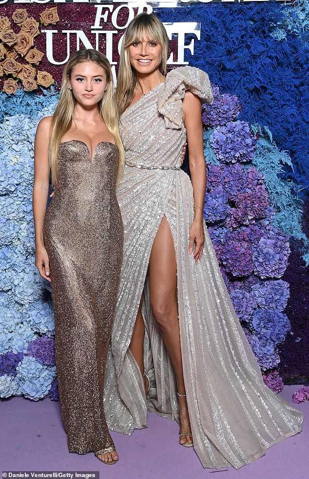 Good genes: Heidi and her look-alike daughter Leni are pictured together at a UNIVEF event in Capri, Italy in July