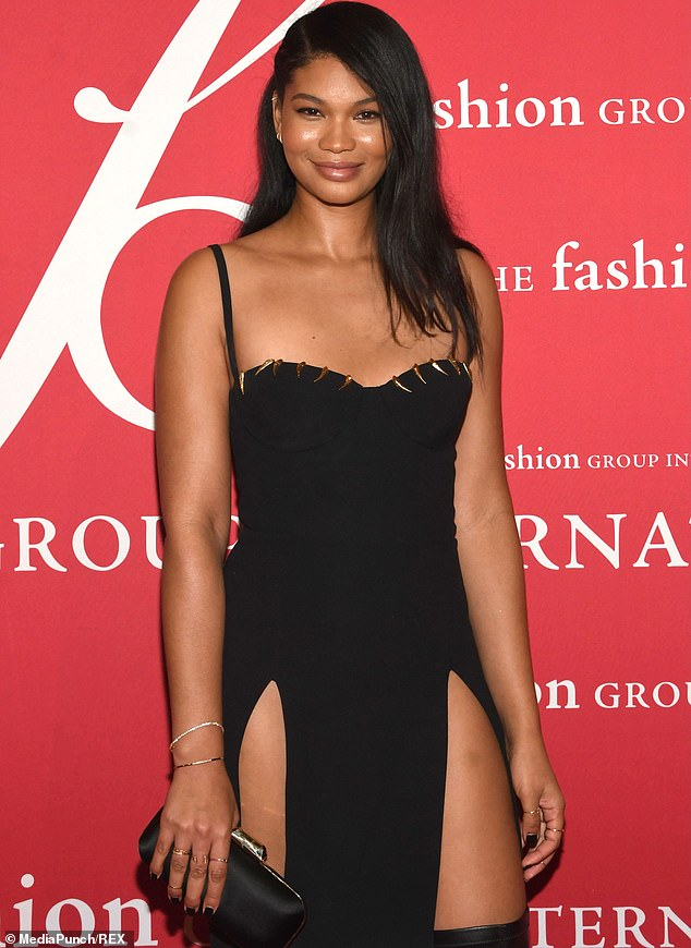 Glowing:Chanel Iman turned up the glamour at Fashion Group International's latest annual edition of its Night Of Stars on Wednesday