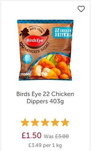 Dr. Oetker Ristorante Pepperoni-Salame Pizza was down to just £1.25 from £1.50 and Birds Eye 22 Chicken Dippers are £1.50 from £3
