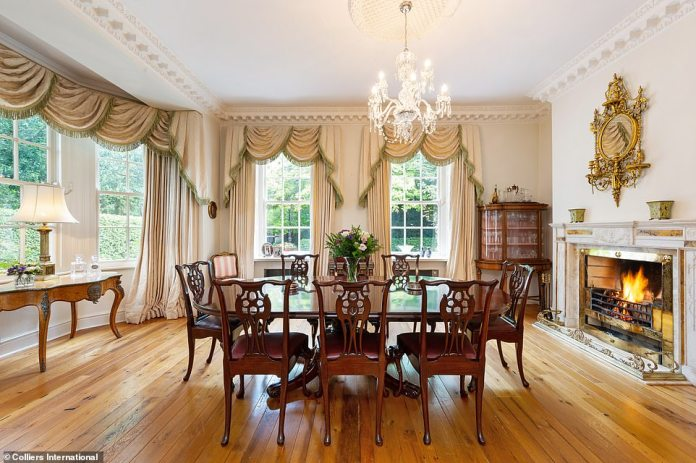 The new owners of 73 Ailesbury road will have the chance to wine and dine in a grand formal dining room (pictured)