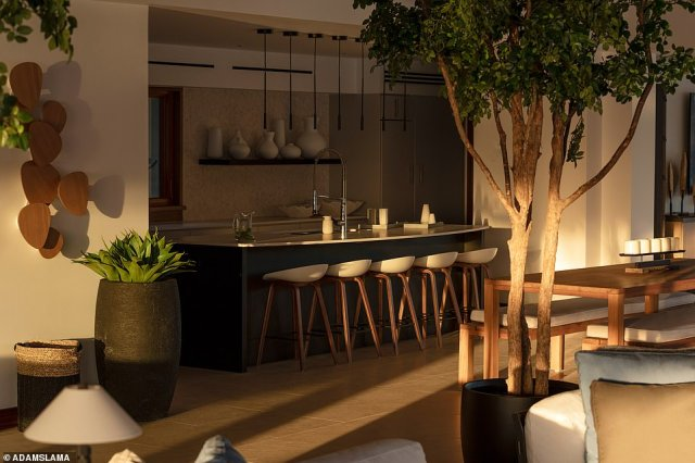 A kitchen in the Point Estate, which has two master suites, the Hillside Master and the Seaside Master