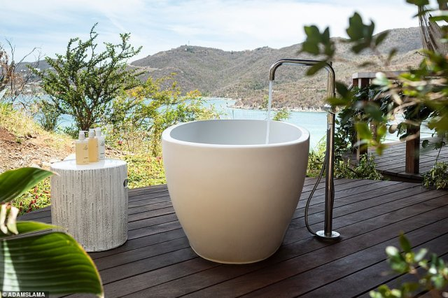 A guest room bathtub on The Point Estate. Guests can bathe in a mix of freestanding, outdoor, deep-soaking baths and outdoor showers on the estate