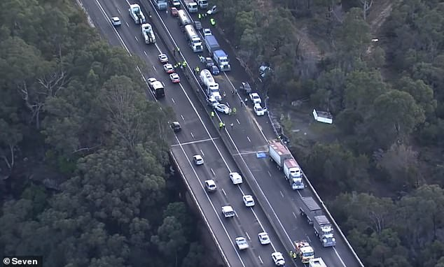 The horror highway pile-up caused long delays to traffic, according to NSW Police