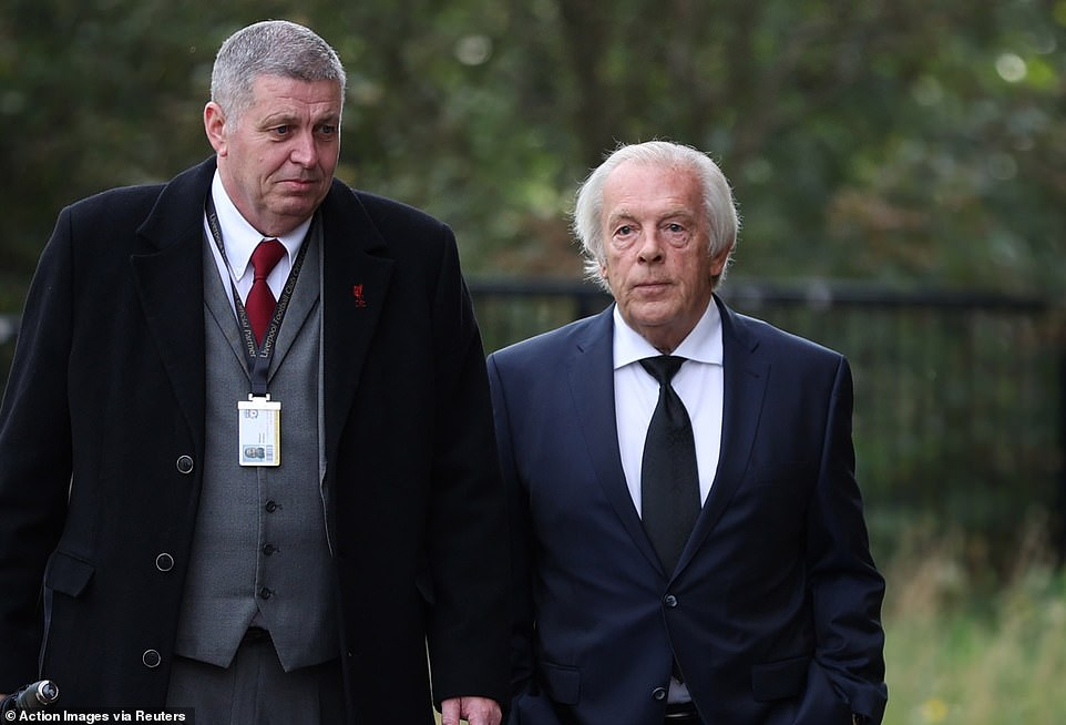 Professional Footballers' Association chief executive Gordon Taylor (right) was pictured entering the cathedral on Thursday