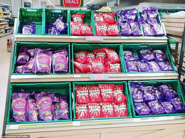 Supermarkets have been mocked for filling gaps on shelves with bizarre items to make stores look less bare. Pictured: A Co-op store in Hertfordshire