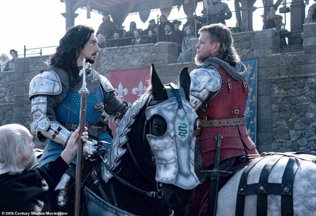 They had once been good friends, but on a cold winter's day in December 1386, French knights Jacques Le Gris and Jean de Carrouges fought bitterly in front of their king. The conflict is the subject of new film The Last Duel, which stars Matt Damon as Carrouges and Adam Driver as Le Gris. They are pictured in character above (Damon right)