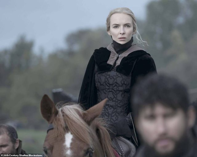 Horrendously, if Carrouges were to lose the fight, Marguerite – who was forced to watch while flanked by guards – would be burnt alive at the stake for lying about her ordeal. Above: Marguerite is played by Jodie Comer in the new film