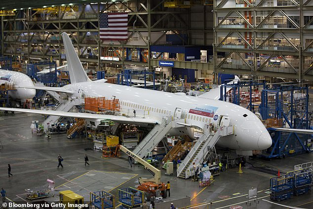 787 airplanes are manufactured at the Boeing Co. facility in Everett, Washington in a file photo.Boeing is dealing with a new defect on its 787 Dreamliner, which involves certain titanium parts that are weaker than they should be