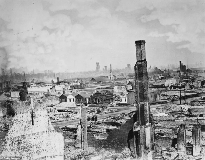 The fire of 1871 and another massive fire in the downtown area in 1874 convinced Chicagoans to transition from wooden structures to those made of fireproof material like steel