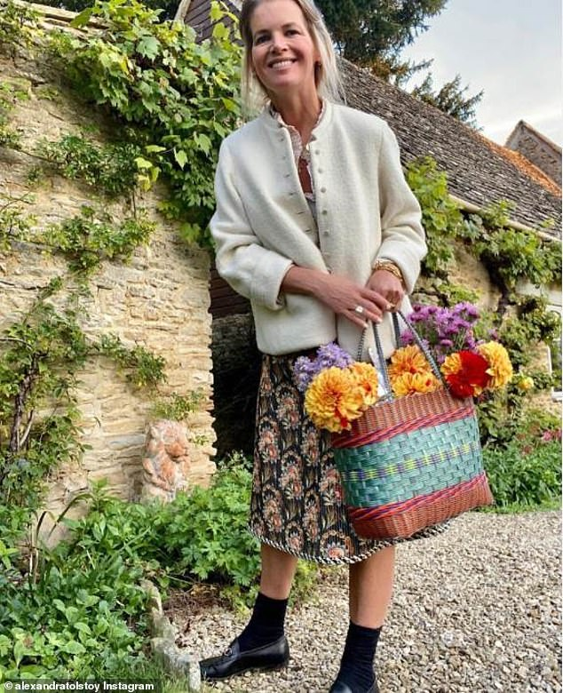 Countess Alexandra Tolstoy has launched an embroidery line 'inspired by her grandmother', as she rebuilds her live a year after being 'evicted' from the £12M mansion owned by her Russian billionaire ex