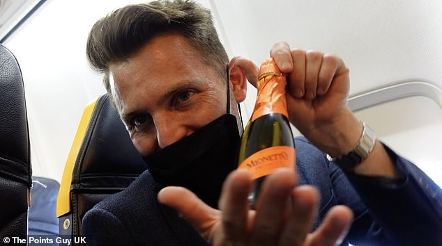 The onboard Prosecco. Sadly, Nicky says, it was served warm