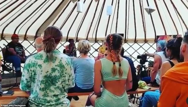 Activities at the five day event, for which tickets cost £210, included artivism and a 'healing field' to practice flow states and laughing yoga, as well as talks on foraging and 'soil health'