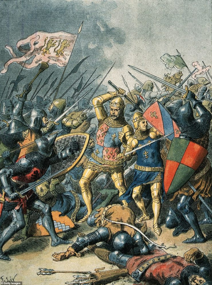 King John II of France in battle at Poitiers, against the English during the Hundred Years' War, 1356. It was during this battle that King John II was captured by the English