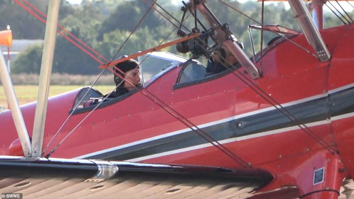 Stunt Man: Tom Cruise is seen flying a World War II biplane as he begins rehearsing for alleged dog fight stunt scenes in the next Mission: Impossible movie.
