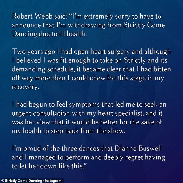 Regret: The 49-year-old comedian announced his decision on Wednesday night, admitting he 'bittened off more than he could chew', was suffering from heart disease
