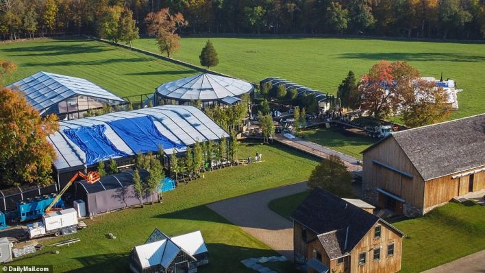 Preparations are well underway for the high-profile wedding with giant marquees and tents being erected in the grounds