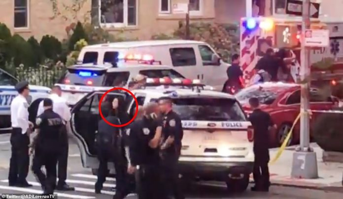 This is the moment Wu was cuffed and taken in a police car to the hospital to undergo evaluation. She remained there as of Thursday morning