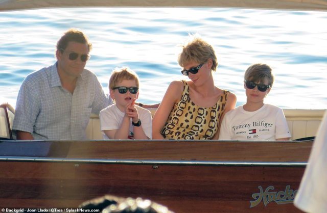 It's been a busy week for Princess Diana and Prince Charles actors Elizabeth Debicki and Dominic West (pictured with the actors playing William and Harry), as they were once again spotted filming new scenes for series five of The Crown in Palma de Mallorca today