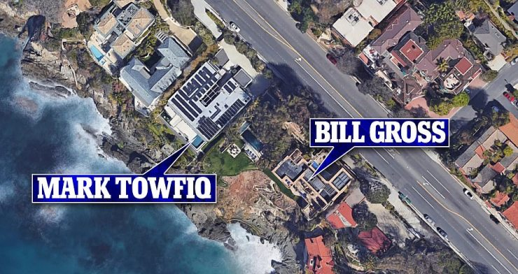 The homes of Mark Towfiq and Bill Gross are seen above in this aerial image