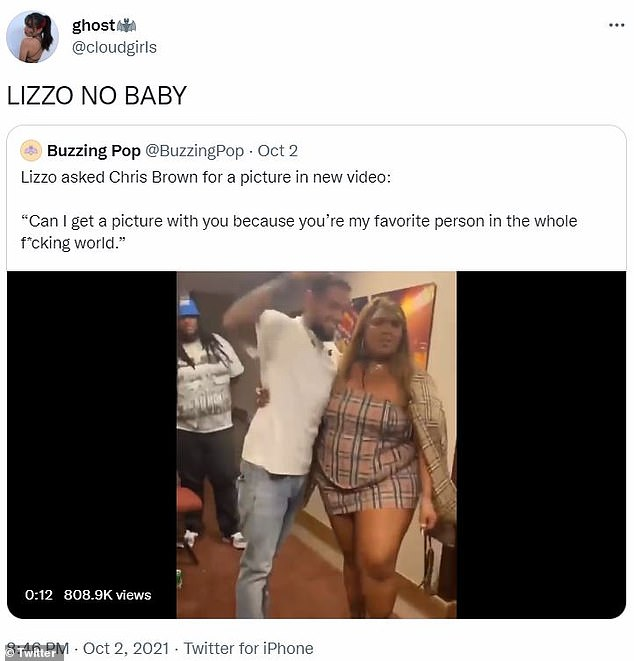 'Lizzo no baby': Earlier this month, the rapper and singer came under fire for calling convicted felon Chris Brown her 'favorite person in the whole f***ing world' and posing for a photo