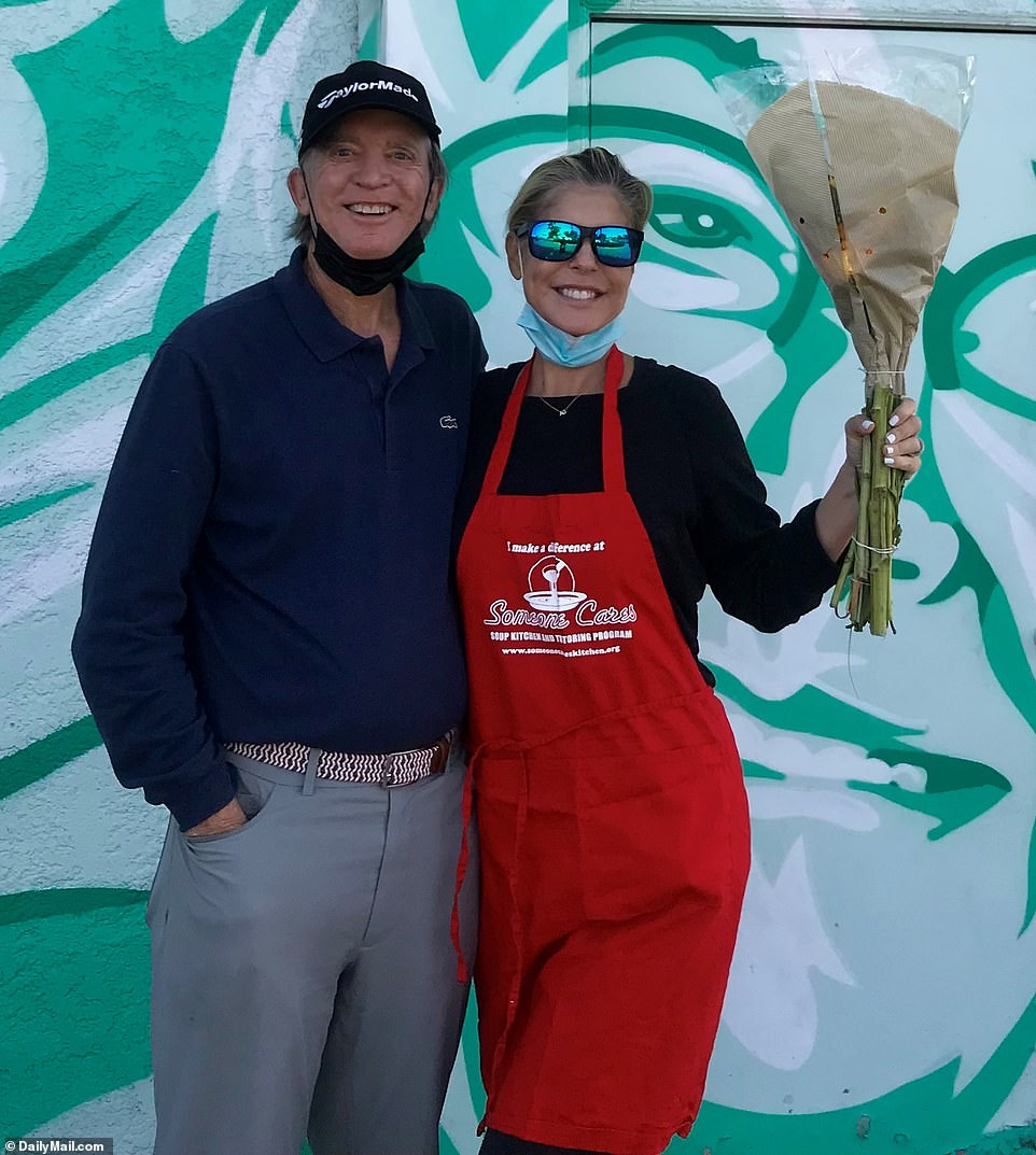 Legendary bond investor Bill Gross and his wife Amy have been spotted beaming after completing their mandatory community service at a California soup kitchen in this photo obtained exclusively by DailyMail.com