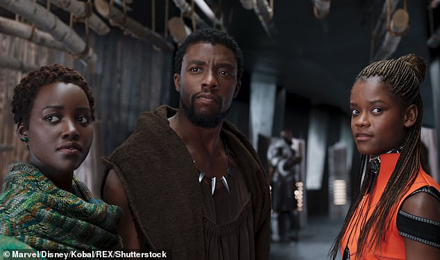 From left: Black Panther co-stars Lupita Nyong'o, Chadwick Boseman, and Letitia Wright in the original film from 2018
