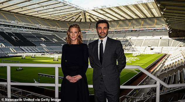 Bruce met with new director Amanda Staveley and her husband Mehrdad Ghodoussi (pictured at St James' Park last week) at the training ground on Monday