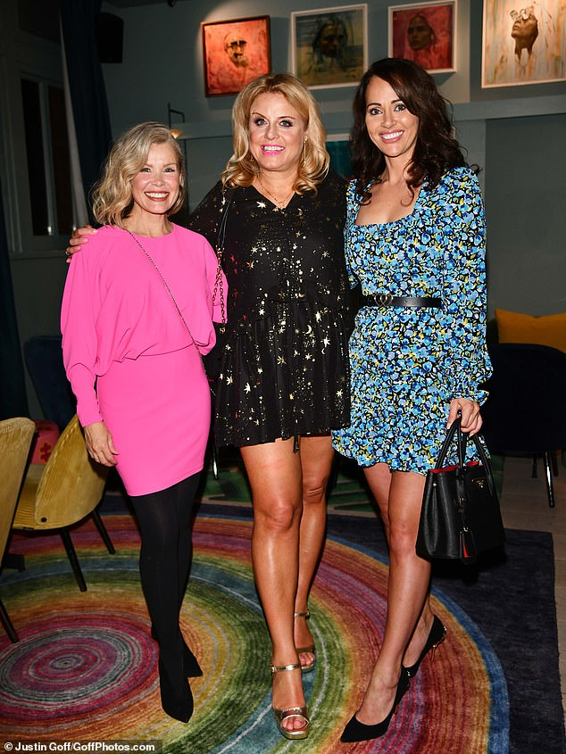 Fun: the star posed with Julia Champion and Hayley Sparkes