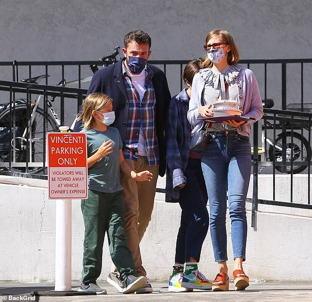 Co-parenting: Garner and the kids had previously lived in a 16,000 square foot home in nearby Pacific Palisades when she was still married to Ben Affleck; the actor is seen with the kids