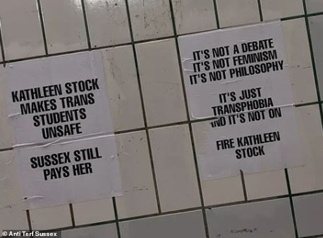 Signs demanding the firing of Professor Stock been put up in the pedestrian tunnel connecting Falmer train station to the university's campus under the A27