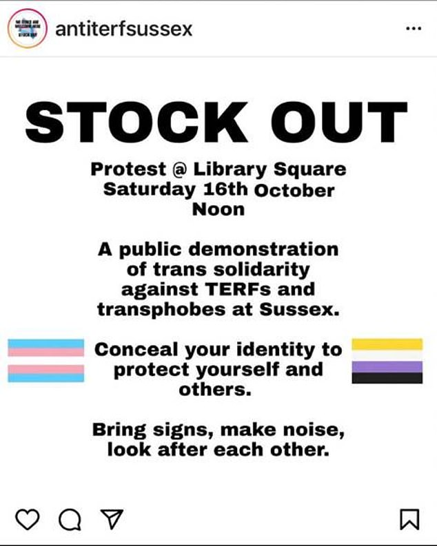 Further protests have been planned against Professor Stock at the University of Sussex