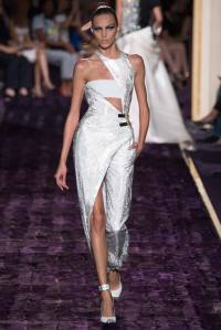 Karlie Kloss dons racy cut-out silver and white jumpsuit ...